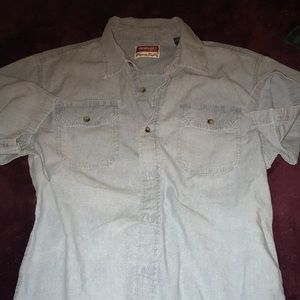 Vintage EUC Wrangler Jean Shirt Short Sleeves ButtonDown Size Small